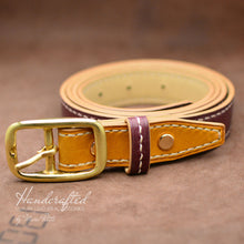 Load image into Gallery viewer, Burgundy Leather Belt with Yellow Mustard Insertion & Brass Buckle
