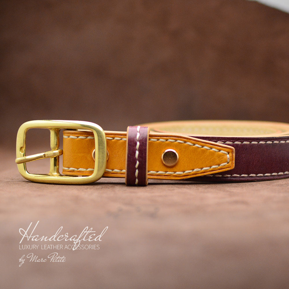 Burgundy Leather Belt with Yellow Mustard Insertion & Brass Buckle