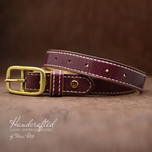 Load image into Gallery viewer, Handmade Burgundy  Leather Belt with Brass Buckle