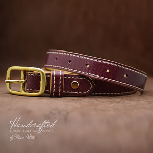 Handmade Burgundy  Leather Belt with Brass Buckle