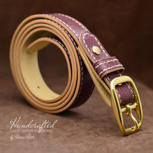 Handcrafted Burgundy  Leather Belt with Brass Buckle