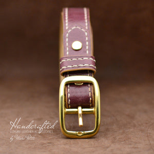 Red Burgundy  Leather Belt with Brass Buckle