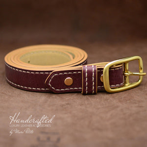 Hand Sewn Burgundy  Leather Belt with Brass Buckle