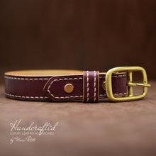 Load image into Gallery viewer, High-end Burgundy  Leather Belt with Brass Buckle
