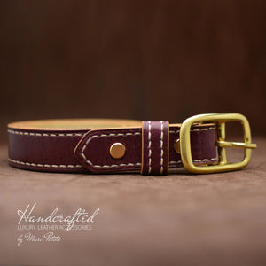 High-end Burgundy  Leather Belt with Brass Buckle