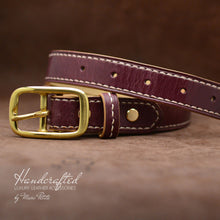 Load image into Gallery viewer, Burgundy  Leather Belt with Brass Buckle and Leather Stud