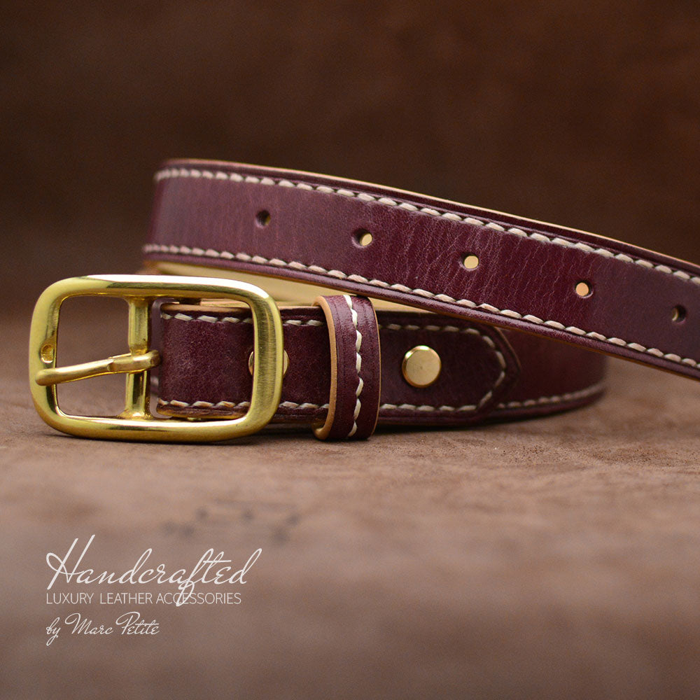 Burgundy  Leather Belt with Brass Buckle and Leather Stud