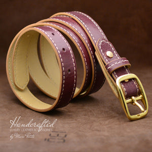 Handcrafted Burgundy  Leather Belt with Brass Buckle and Leather Stud