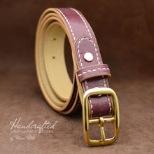 Load image into Gallery viewer, Handmade Burgundy  Leather Belt with Brass Buckle and Leather Stud