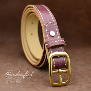Handmade Burgundy  Leather Belt with Brass Buckle and Leather Stud