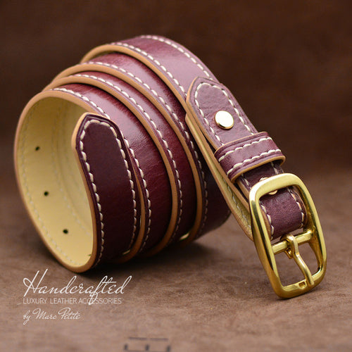 Burgundy  Leather Belt with Brass Buckle