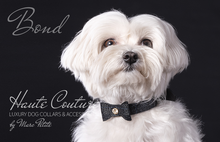 Load image into Gallery viewer, Christmas Leather Dog Bow Tie Black