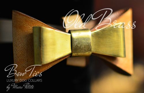 Old Brass Leather Dog Bow Tie