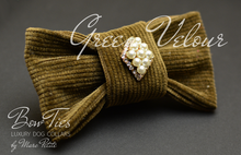 Load image into Gallery viewer, Green Velour Bow Tie