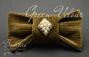 Green Velour Dog Bow Tie