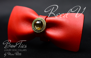 Red Leather Bow Tie with Crystal