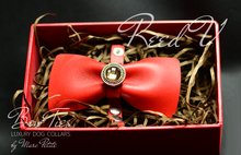 Load image into Gallery viewer, Red Leather Bow Tie