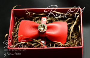 Red Leather Bow Tie