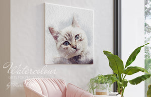 Custom Cat Portrait from Photo - Watercolour