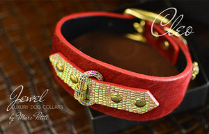 Jewelled Luxury Dog Collar in Red & Gold for Italian Greyhound