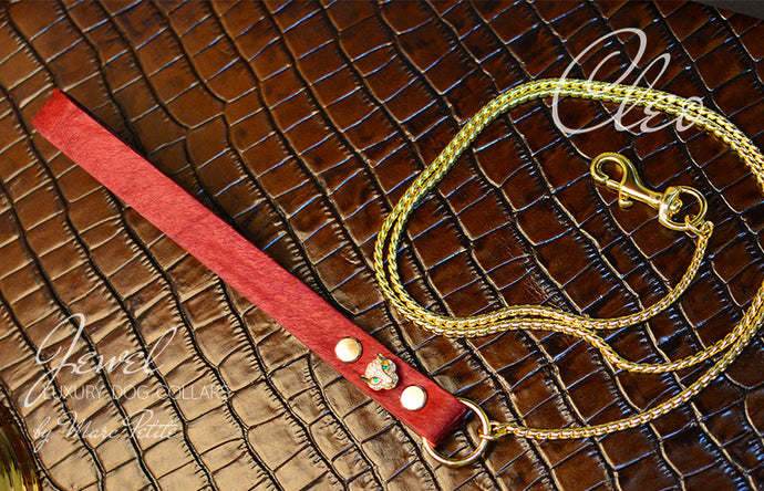 Luxury Dog Show Leash Red Fur Leather & Gold Plated Panthere & Snake Chain