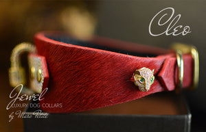 Jewelled Luxury Dog Collar in Red & Gold Panther