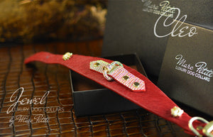 Chic Dog Collar in Red & Gold