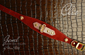 Unique Dog Collar in Red & Gold