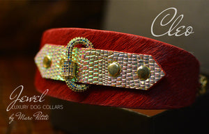 Jewelled Luxury Dog Collar in Red & Gold for Greyhound
