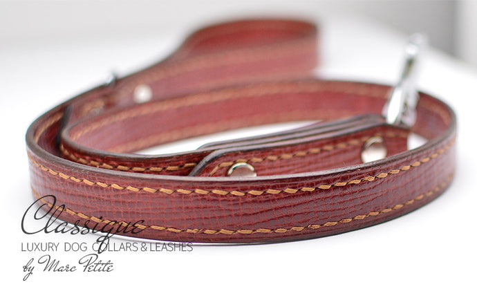 Red Carmine Leather Dog Leash