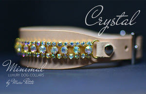 Crystal leather dog collar
