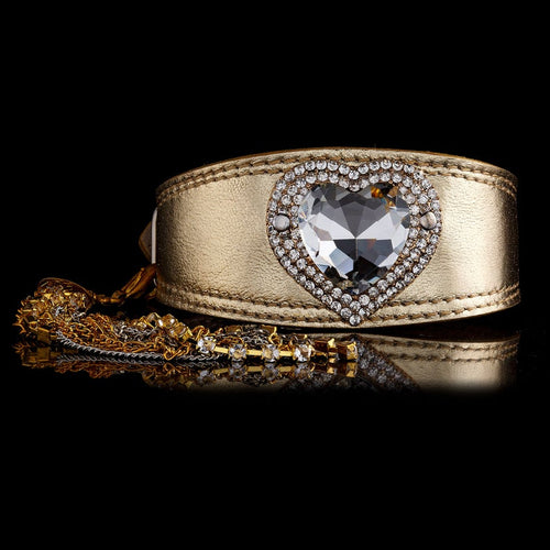 Crystal Heart - Jewelled Greyhound Gold Collar with
