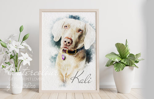 Custom Dog Portrait from Photo - Watercolour