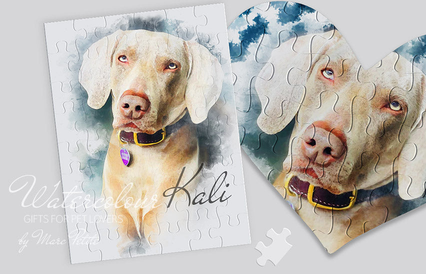 Custom Dog Puzzle made of you Photo in Watercolour Technic.