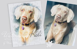 Personalized Dog Puzzle made of you Photo in Watercolour Technic.