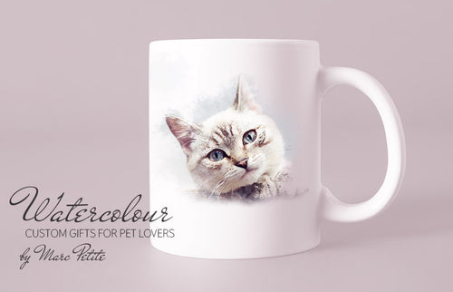 Custom  Personalized Cat Cup from Photo - Watercolour