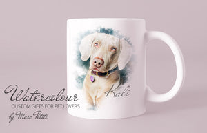 Custom Personalized Dog Cup from Photo - Watercolour