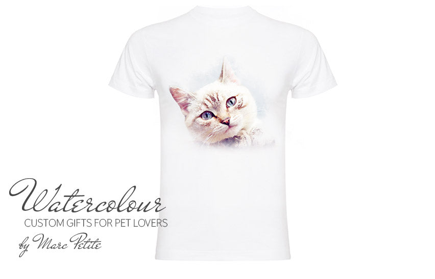 Custom Watercolour Cat T-shirt from Photo
