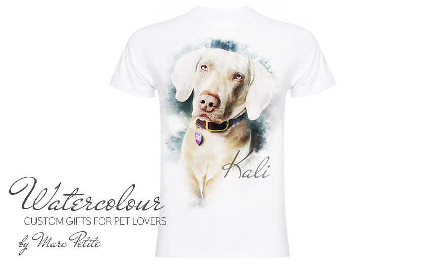 Custom Watercolour Dog T-shirt from Photo
