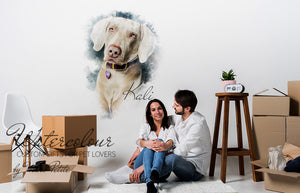 Custom Dog Wallpapers for walls - Watercolour