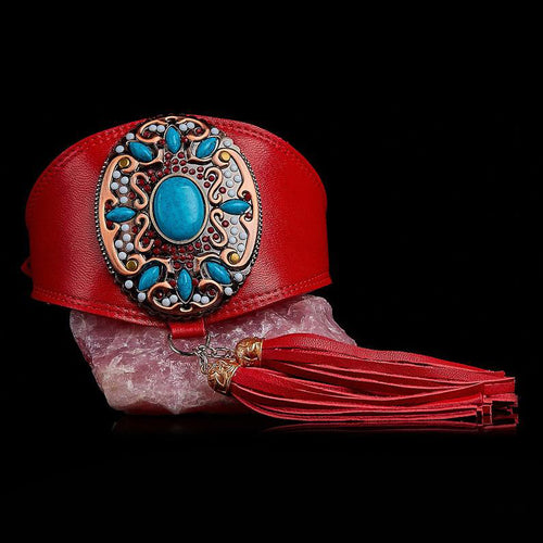 Elegant Jewelled Greyhound Collar in Red leather with Tassel
