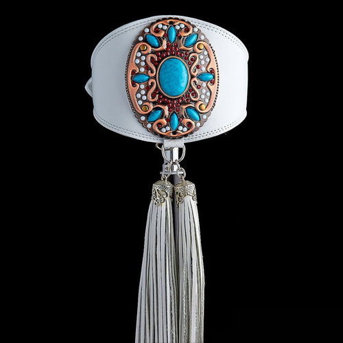Elegant Jewelled Hound Collar in white leather with Tassel