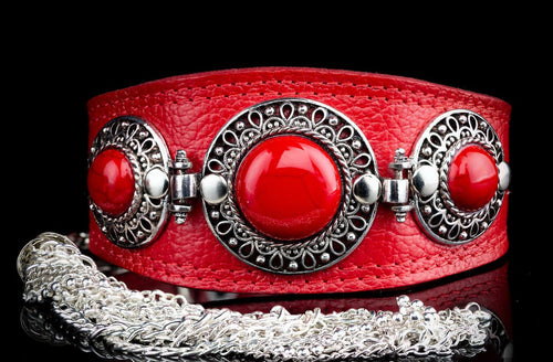 Jewelled Greyhound Red Leather Collar with Tassel