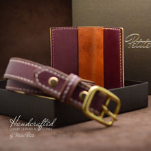 Load image into Gallery viewer, Full Grain Leather Gift Pack: belt and cardholder