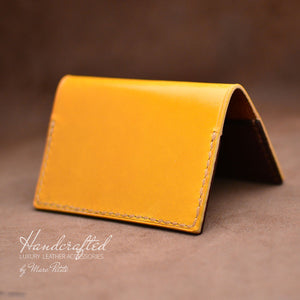 Handmade Yellow Mustard Full Grain Leather Cardholder