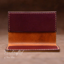 Load image into Gallery viewer, Handmade Burgundy Full Grain Leather Cardholder
