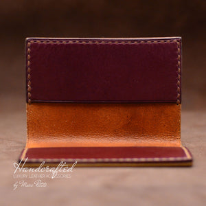 Handmade Burgundy Full Grain Leather Cardholder