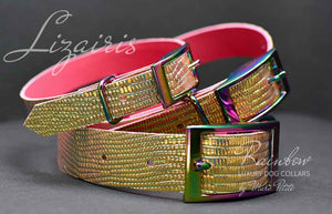 Holograhic Fashion dog collar croco reptil print leather