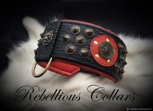 Greek Medusa Rebellious Leather Dog Collar