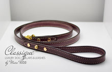 Load image into Gallery viewer, Burgundy, handmade and hand-stitched leather leash